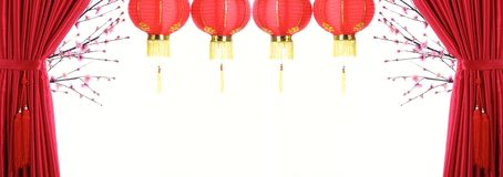 Chinese New Year Decoration. Red Satin Curtain,Plum Blossom and Red Lantern with Copy Space
