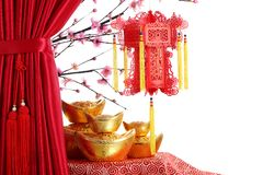 Chinese New Year Decoration. Chinese New Year Ornaments--Red Satin Curtain,Plum Blossom,Red Lantern and Gold Ingot