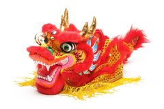 Chinese New Year Decoration. Closeup of Dancing Dragon on White