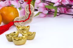 Chinese new year decoration. Gold ingots and copper coins with oranges and plum blossom royalty free stock photos