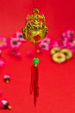 Chinese New Year Decoration. Chinese New Year ornament on red background vector illustration
