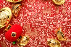 Chinese new year decoration,close up golden ingots  ang pow an stock image