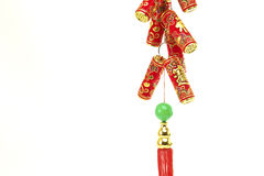 Chinese New Year Decoration,Fire Crackers. On White with Copy Space stock photography