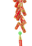Chinese New Year Decoration,Fire Crackers. On White with Copy Space stock images