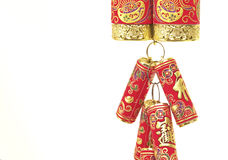 Chinese New Year Decoration,Fire Crackers. On White with Copy Space royalty free stock photography
