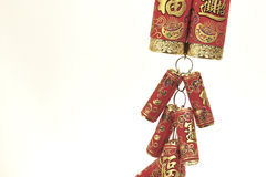 Chinese New Year Decoration,Fire Crackers. On White with Copy Space royalty free stock photo