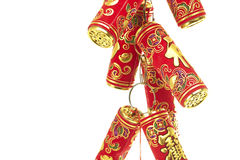 Chinese New Year Decoration,Fire Crackers. On White with Copy Space stock photos