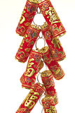 Chinese New Year Decoration,Fire Crackers. On White with Copy Space stock image