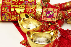 Chinese New Year. Decoration gold, firecracker stock photography
