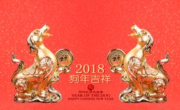 Chinese new year decoration:golden dog statue Stock Photography