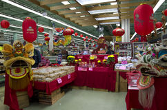 Chinese new year decoration grocery store Royalty Free Stock Photos