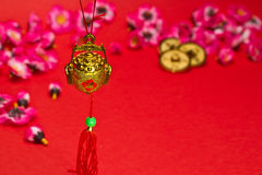 Chinese New Year Decoration II. Chinese New Year ornament on red background stock illustration
