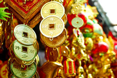 Chinese new year decoration items. Hanging gold coin with the letter of wealthy royalty free stock photo
