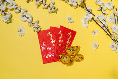 Chinese new year decoration items on yellow background. Royalty Free Stock Image