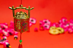Chinese New Year Decoration IV. Chinese New Year ornament on red background with cherry blossom for festive using stock illustration