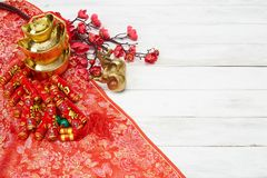 Chinese New Year Decoration On A Red Background Stock Image