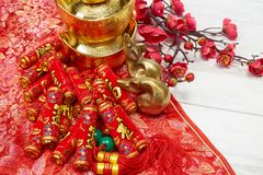 Chinese New Year Decoration On A Red Background Stock Photography