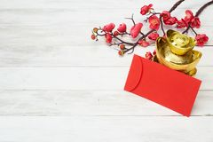 Chinese New Year Decoration On Wooden Background Stock Images