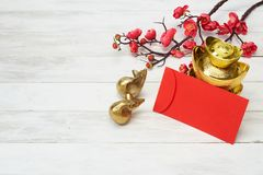 Chinese New Year Decoration On Wooden Background Royalty Free Stock Photos