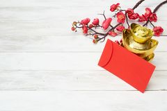 Chinese New Year Decoration On Wooden Background Royalty Free Stock Photo