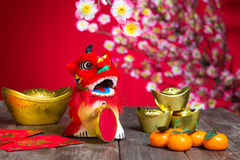 Chinese New Year Decoration plum blossom and gold bullion symbol Stock Photography