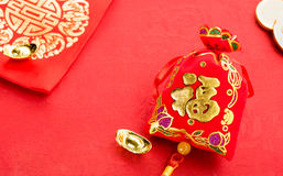 Chinese new year decoration: red felt fabric packet or ang pow w Stock Photos