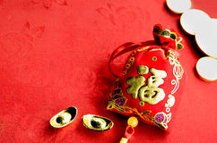 Chinese new year decoration: red felt fabric packet or ang pow w Stock Photo