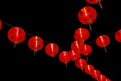 Chinese New Year Decoration--Red lanterns on back background stock photos