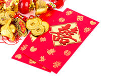Chinese new year decoration and red packet Stock Photo