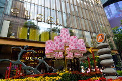 Chinese New Year Decoration. SINGAPORE - FEBFRUARY 26: Chinese New Year Decoration at Orchard Road on February 26, 2015 in Singapore. Orchard MRT Station (NS22/ Stock Image