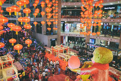 Chinese New Year decoration in the Suria KLCC shopping mall in Kuala Lumpur, Malaysia. Kuala Lumpur, Malaysia - February 8, 2016: View of Chinese New Year Stock Photography