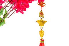 Chinese new year decoration on white background .,Chinese charac. Chinese new year decoration on white background ,Chinese characters text means: rich Stock Images
