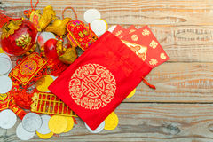 Chinese New Year decoration on wood wall .,Chinese characters te Royalty Free Stock Photo