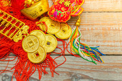Chinese New Year decoration on wood wall .,Chinese characters te Stock Photos
