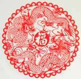 Chinese New Year Decorations. The coming 2012 Chinese new year is the year of dragon. The paper cutting with two dragons and the Fu character which means Royalty Free Stock Images