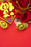 Chinese new year decorations and Auspicious ornaments on red bac Stock Photo