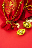 Chinese new year decorations and Auspicious ornaments on red bac Royalty Free Stock Images