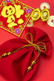 Chinese new year decorations and Auspicious ornaments on red bac Stock Image
