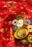 Chinese new year decorations and Auspicious ornaments on red bac. Kground, Selected Focus. Foreign Text on this image is Chinese word the meaning is Blessing Royalty Free Stock Images