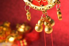 Chinese new year decorations and Auspicious ornaments on red bokeh background.  Royalty Free Stock Photos