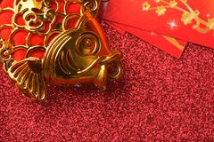 Chinese new year decorations and Auspicious ornaments on red bokeh background.  Royalty Free Stock Images
