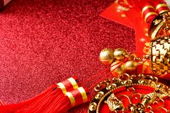 Chinese new year decorations and Auspicious ornaments on red bokeh background.  Stock Images