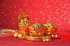 Chinese new year decorations and Auspicious ornaments on red bokeh background.  Stock Image