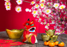 Chinese new year decorations. Chinese character symbolizes gong xi fa cai without copyright infringement stock photo