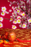 Chinese new year decorations on cherry. Blossom tree stock images