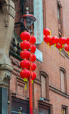 Chinese New Year decorations, Chinatown. London. UK. Stock Photos