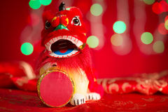 Chinese New Year decorations miniature dancing lion Royalty Free Stock Photo