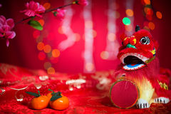 Chinese New Year decorations on red background Royalty Free Stock Photography