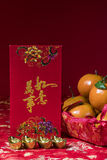 Chinese new year decorations on red background, Royalty Free Stock Photo