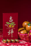 Chinese new year decorations on red background, Stock Photography